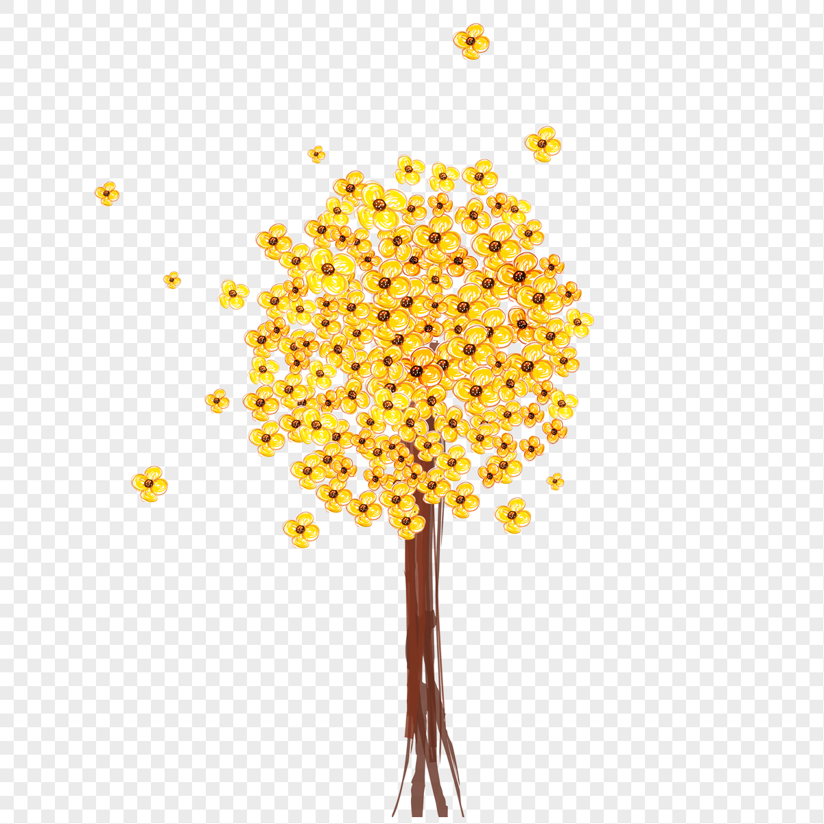 Yellow Flower Crayon Drawing Png Imagepicture Free Download