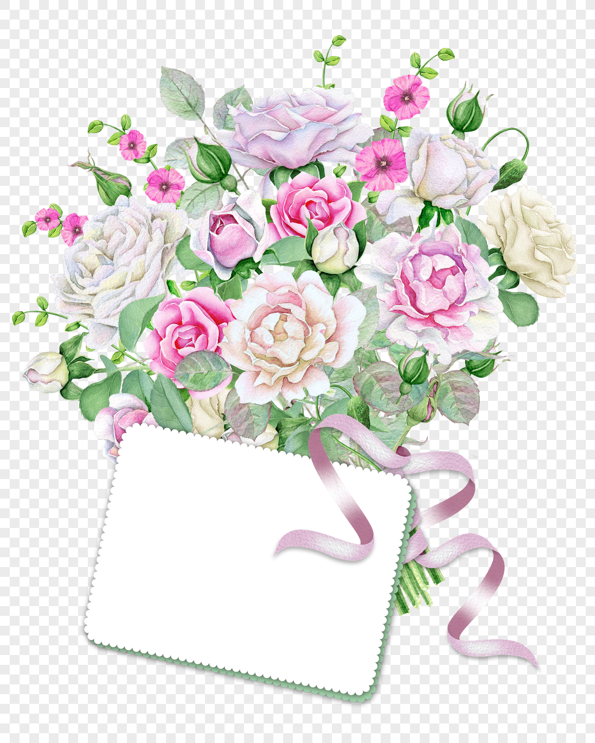 Coloured Painted Bouquet Vector Png Imagepicture Free Download