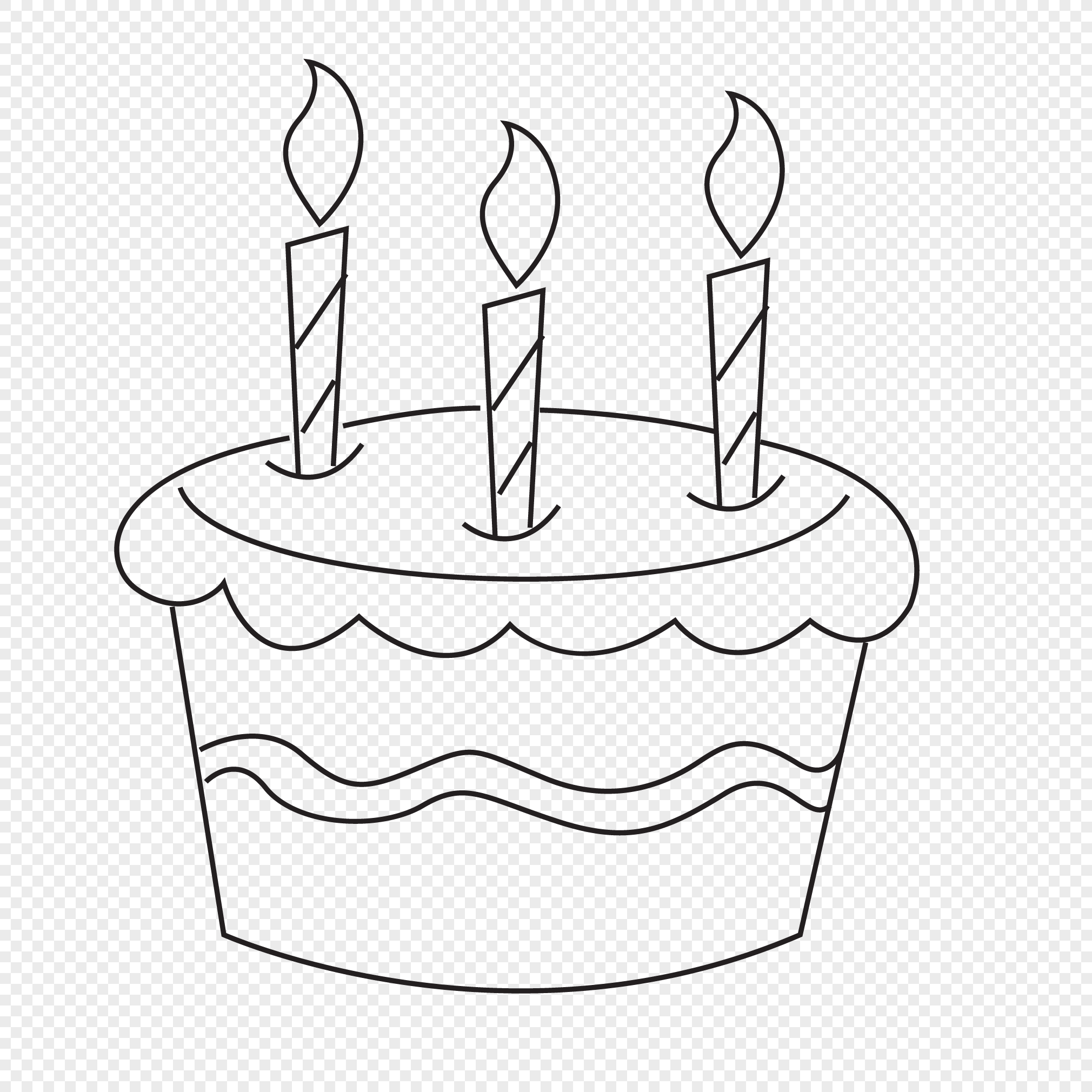 Line Drawing Birthday Cake Png Image Picture Free Download