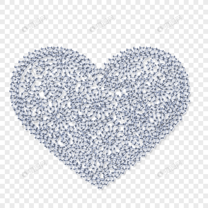 Hand Drawn Embroidery With Peach Heart Pattern Png Image Picture