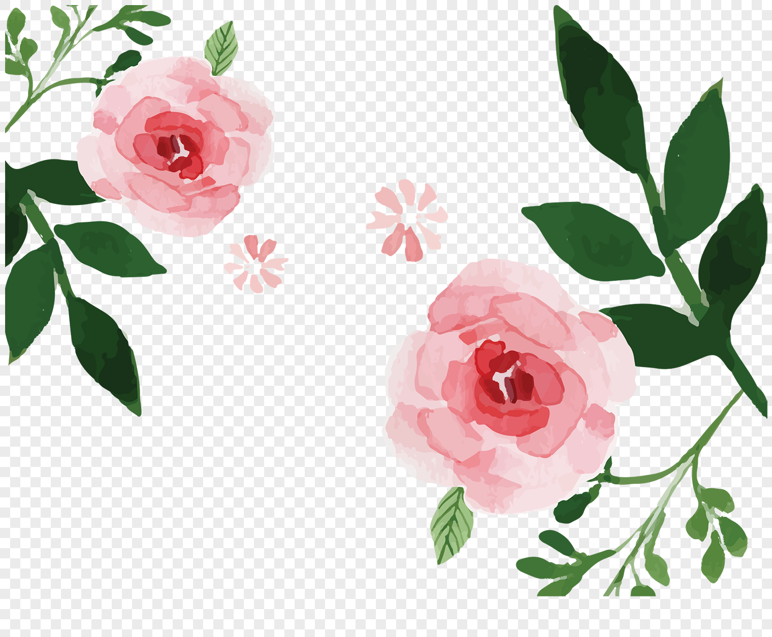 Cartoon Hand Painted Pink Beauty Flowers Png Imagepicture Free