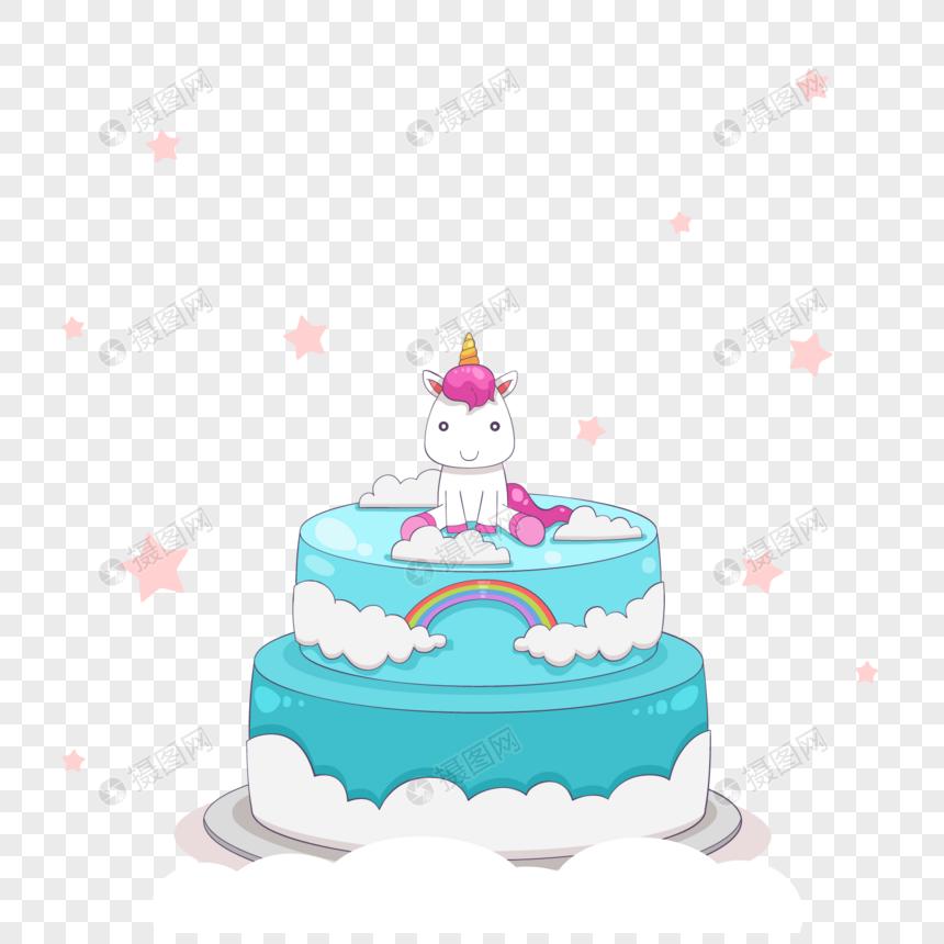 Cartoon Unicorn Birthday Cake