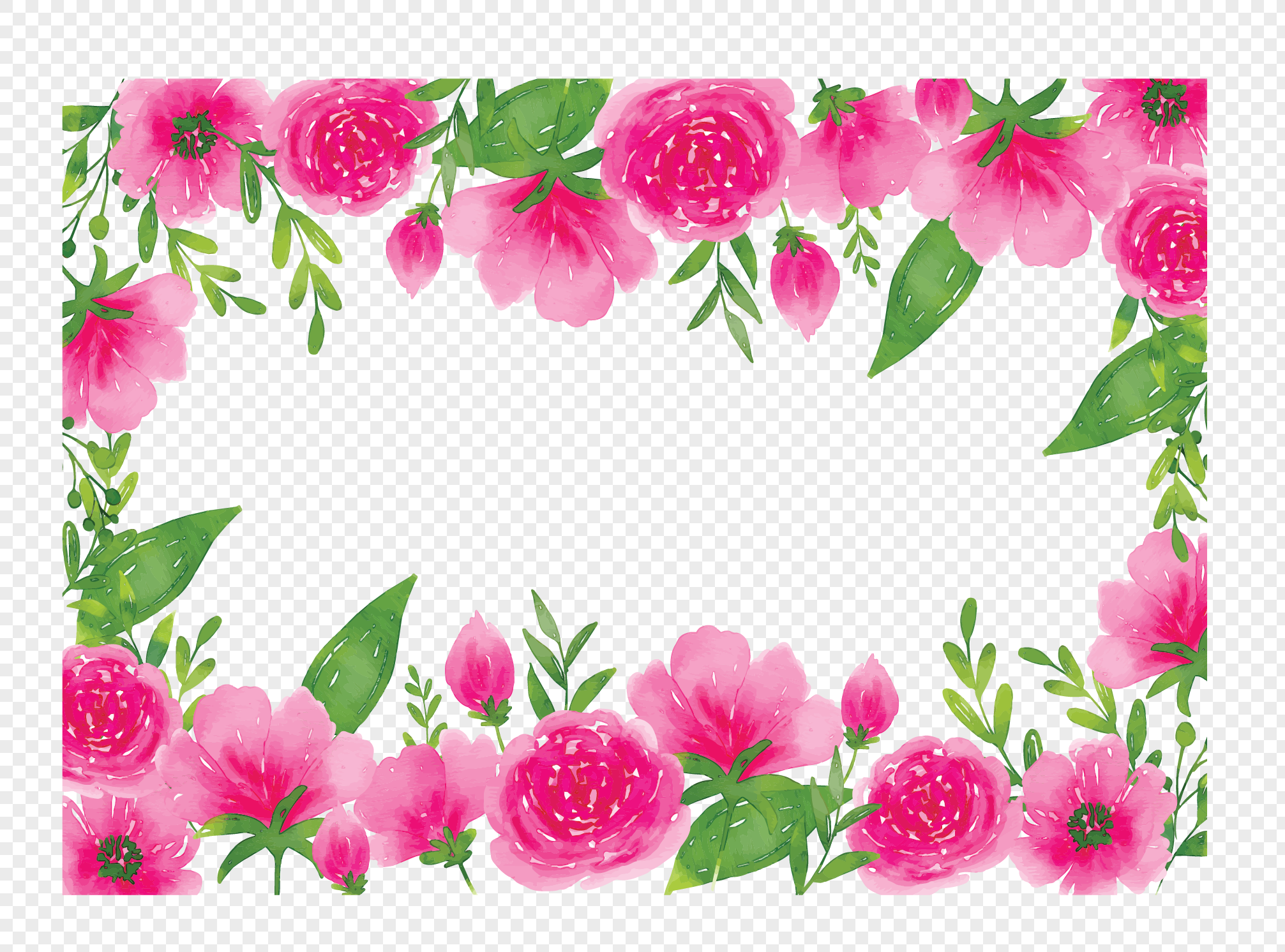 Romantic Watercolor Pink Flower Vine Png Imagepicture Free Download