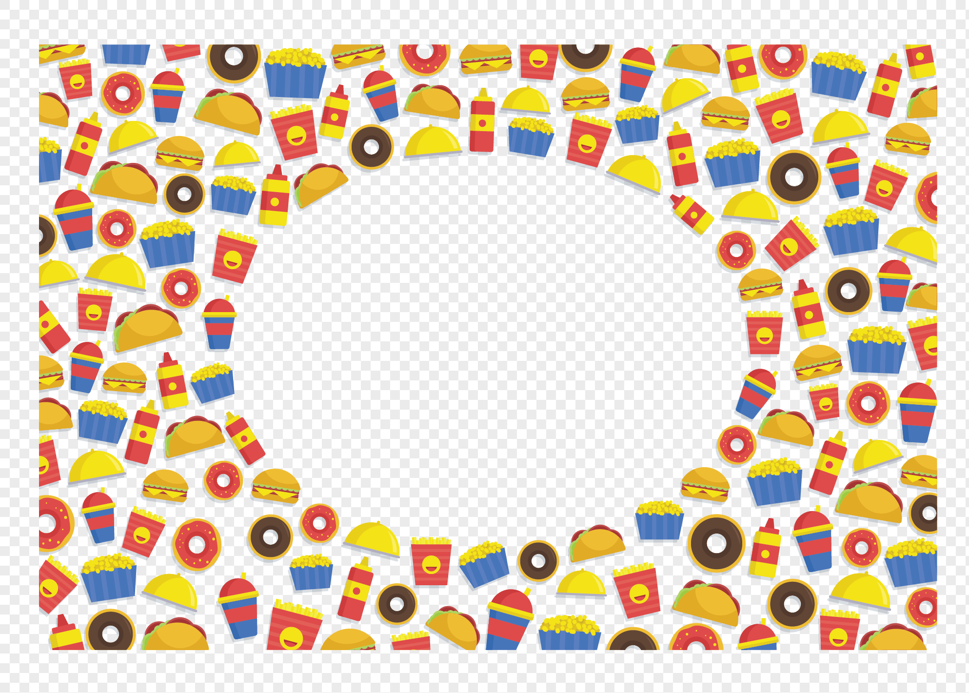 color cartoon fast food border png image picture free download