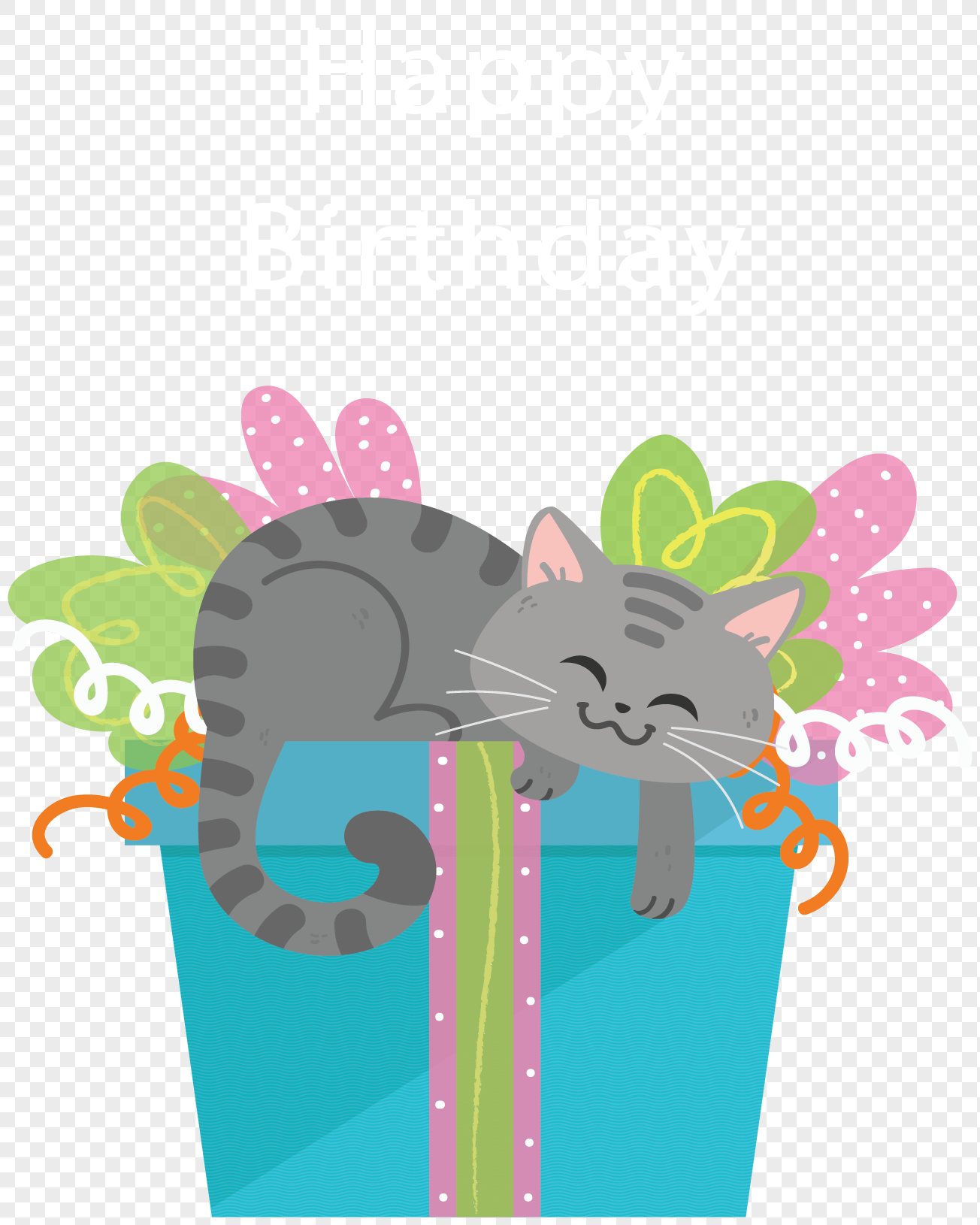 Happy Birthday Cat Gift Box Png Image Picture Free Download