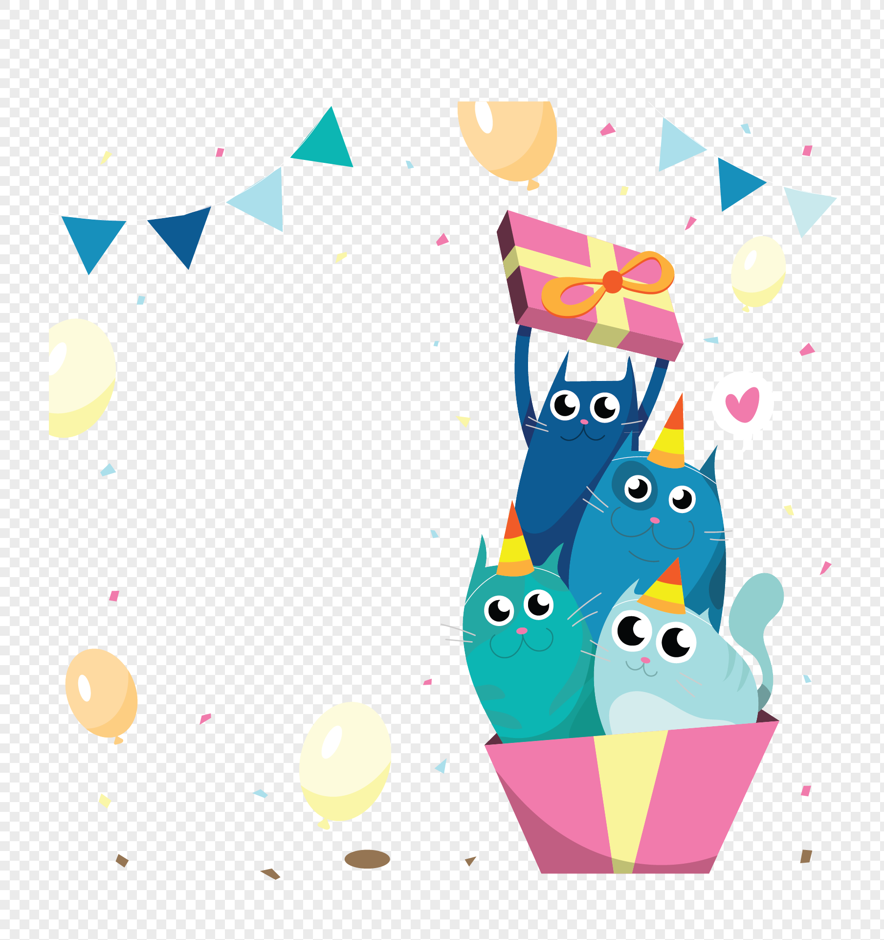 Birthday Gift Cartoon Cat Png Image Picture Free Download