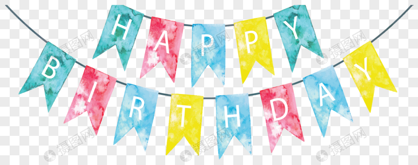 watercolor flag birthday party png