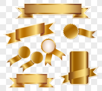 37262 gold ribbons and badges graphics images free download
