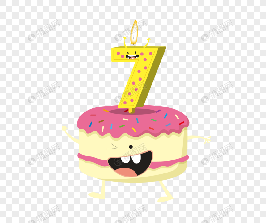 Number 7 Candle Cake