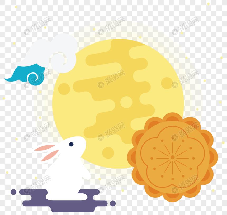 mid autumn festival moon cake moon rabbit png image