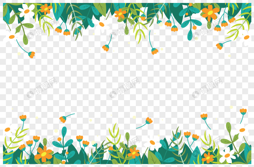 Spring Grass And Spring Flowers Border Png Image Picture Free