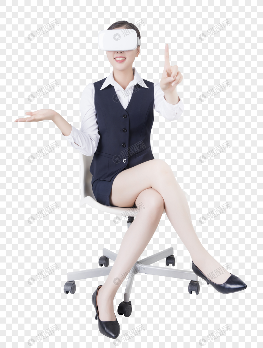 business women with vr glasses png