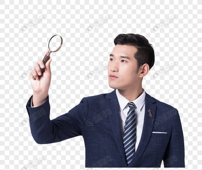 male holding magnifying glasses png