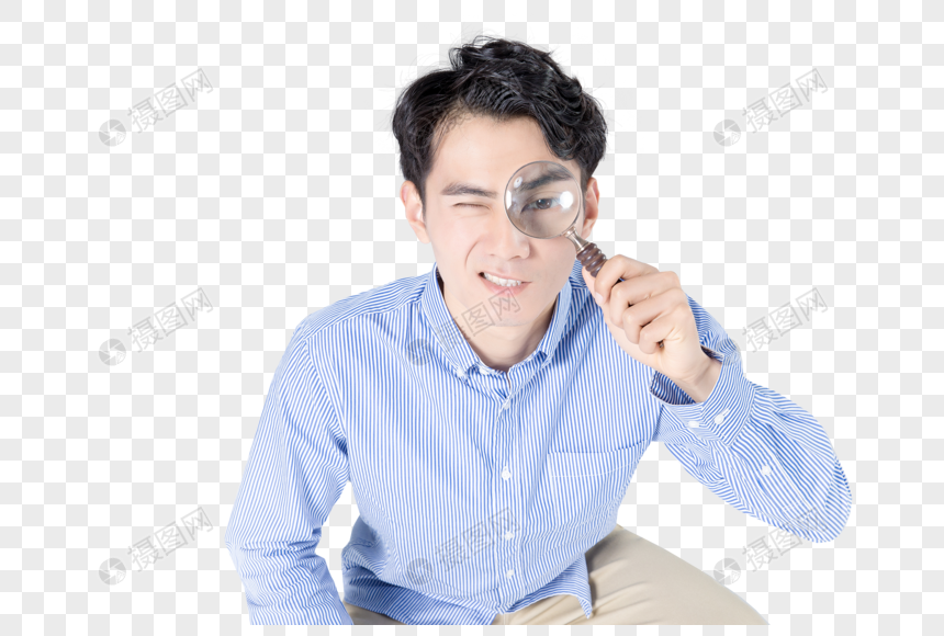 young men holding magnifying glasses png