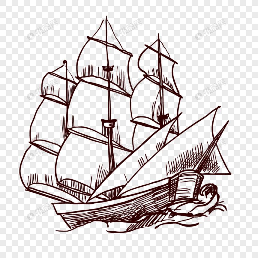 Lukisan Kapal Lakaran Tangan Yang Disediakan Gambar Unduh