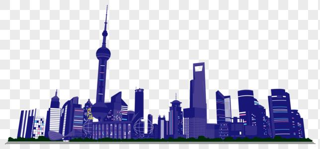 Vue De Nuit De Dessin Animé De La Ville De Shanghai Photo