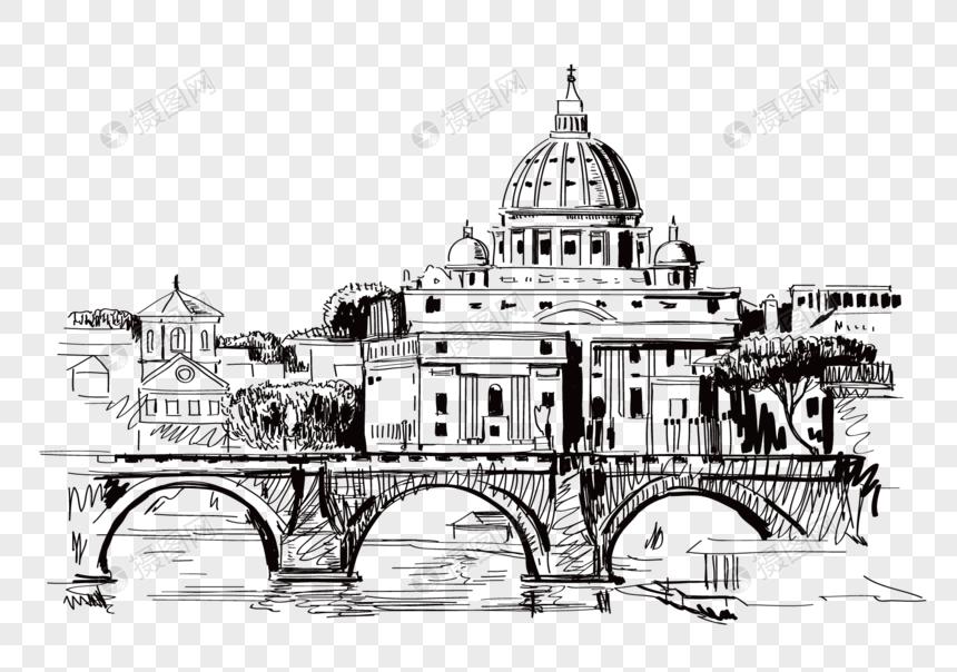 Jembatan Sketsa Bangunan Kota Kubah Gambar Unduh Gratis Grafik