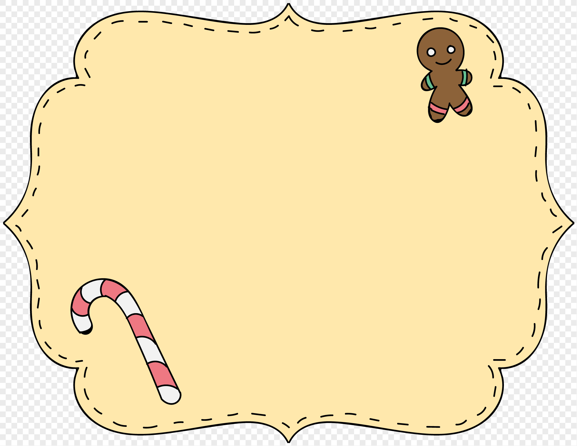 christmas gingerbread character labels border png image picture free