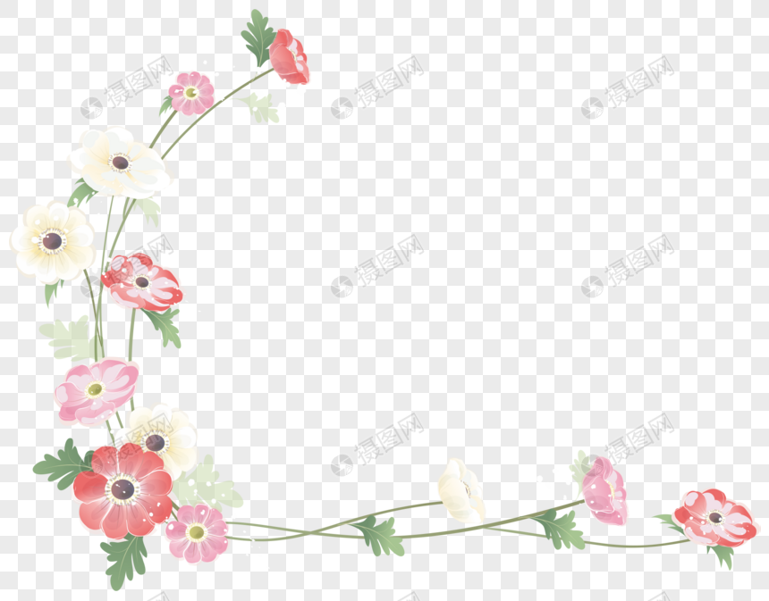 hand painted pink flower border png