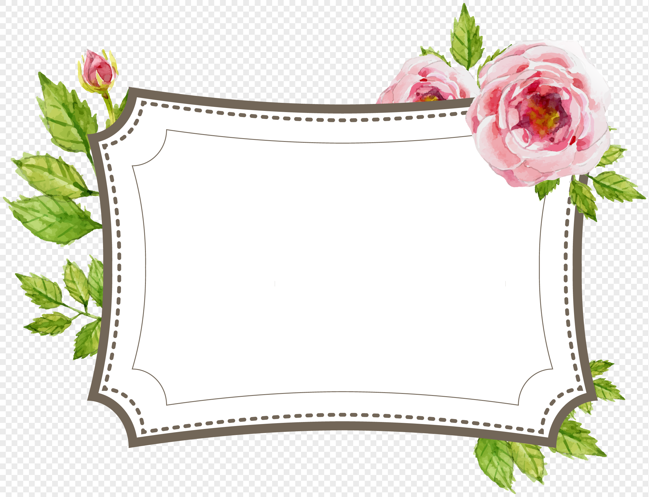 hand painted flower border labels png image picture free download