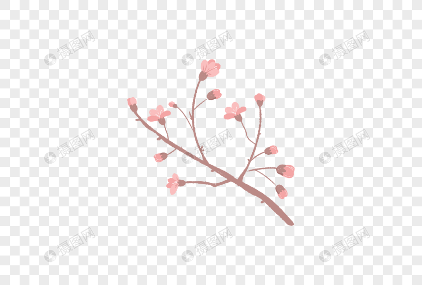 hand painted peach blossom elements png