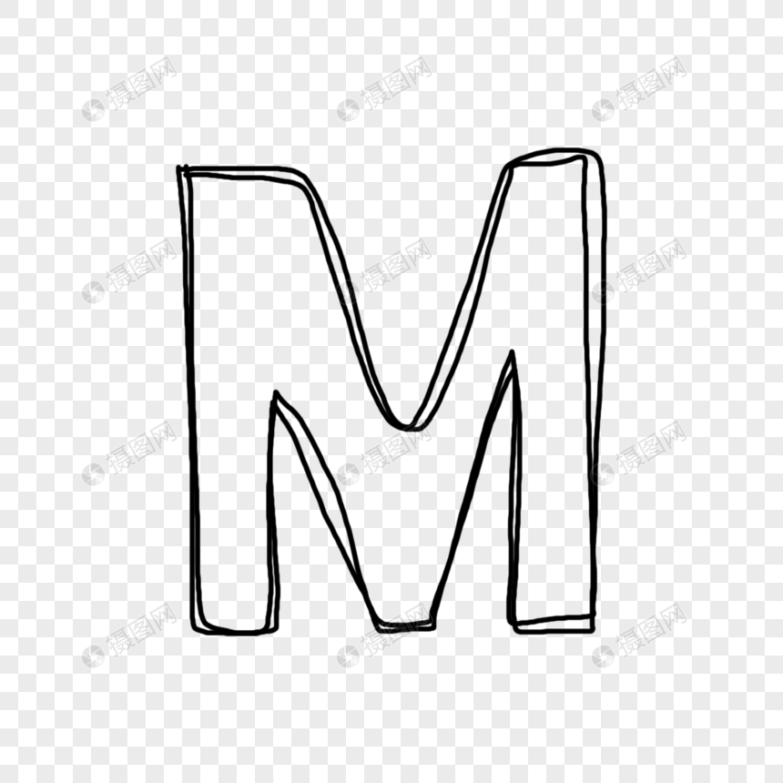 Hand Painted Line Drawing English Letter M Png Imagepicture Free