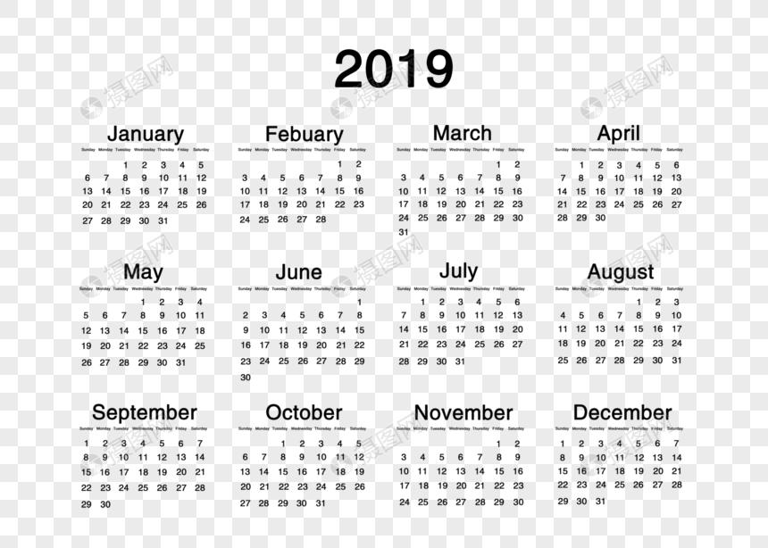 Calendrier 2019 Png.Photo De Version De La Lettre Pure 2019 Du Calendrier Du