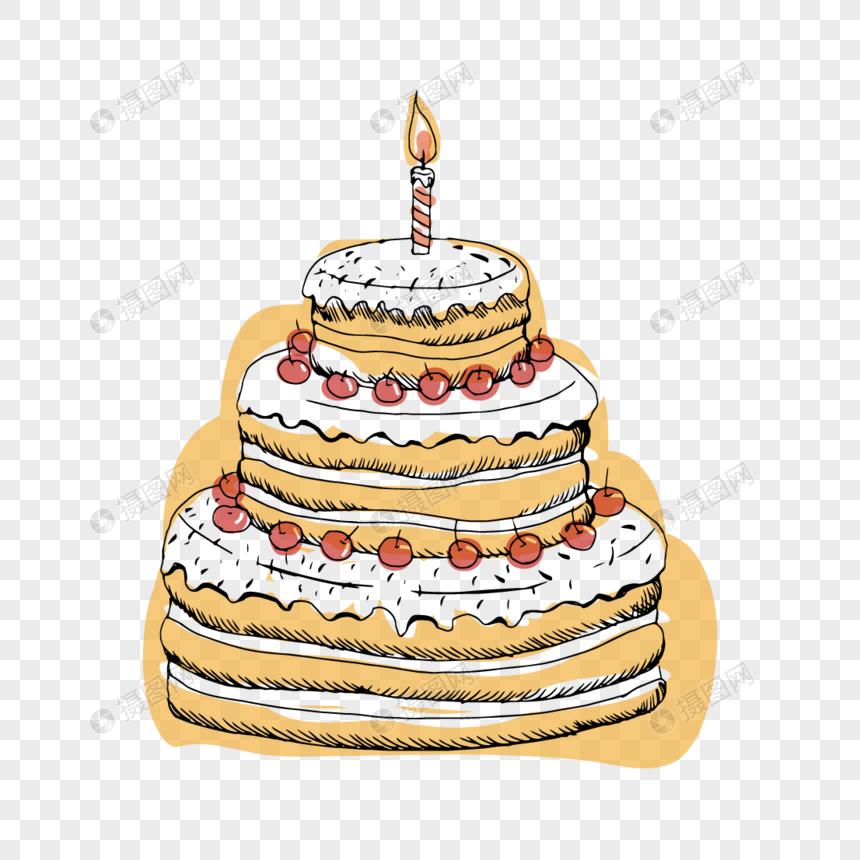 誕生日ケーキを祝うために手描きイラストイメージグラフィックス Id