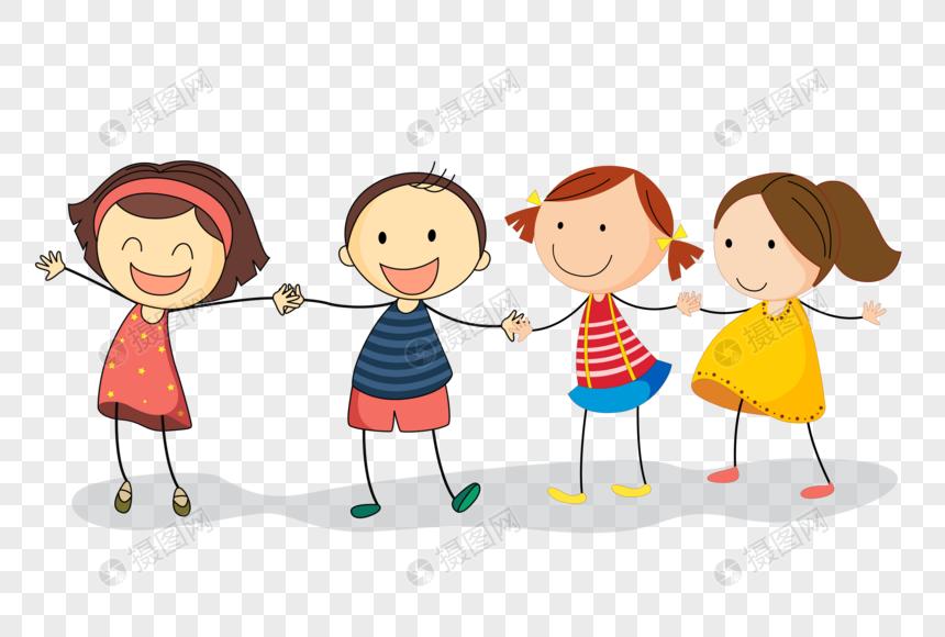 Простая рука нарисованные дети счастливы держась за руки ...