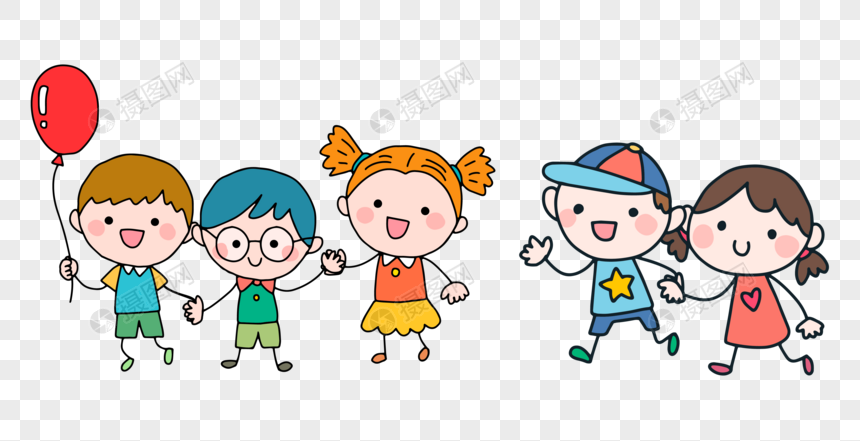 simple hand painted happy children png