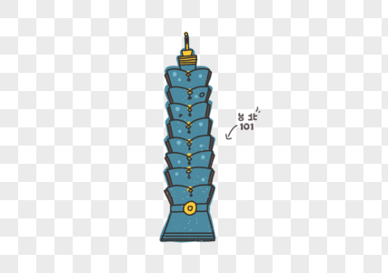 cartoon elements of taipei 101 building in taiwan png