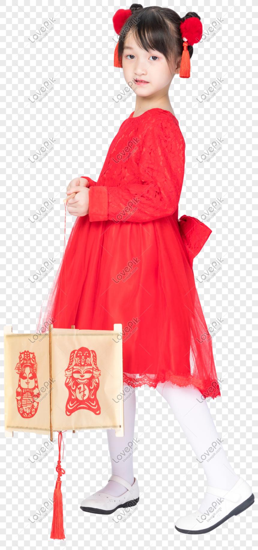 Chica En Vestido Rojo Imagen Descargarprf Gráficos