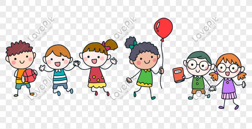 kartun anak anak bergandengan tangan PNG grafik gambar ...