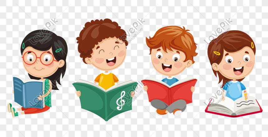 Niños Leyendo Libros Juntos Imagen Descargar_PRF Gráficos