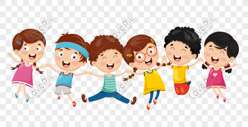 children jumping hand in hand png