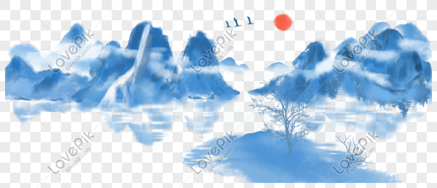 mountain scenery painting png