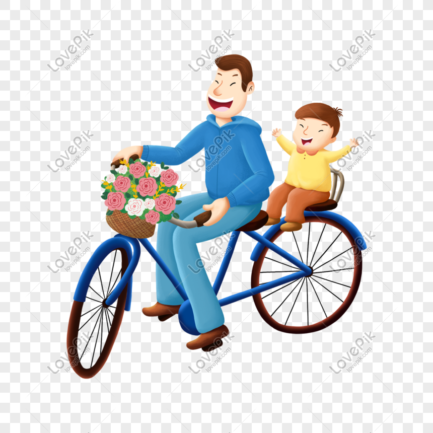 father and son of spring bike ride png