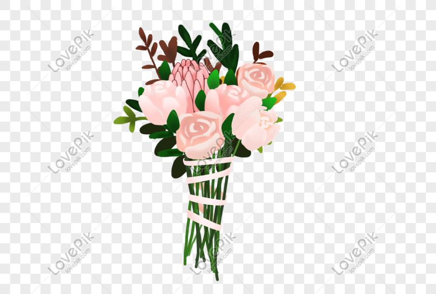 Mawar Merah Muda Memegang Bunga Bunga Kartun Elemen Digambar Tan Png Grafik Gambar Unduh Gratis Lovepik