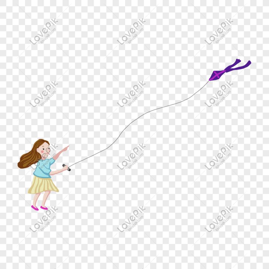 girls flying kites in spring png