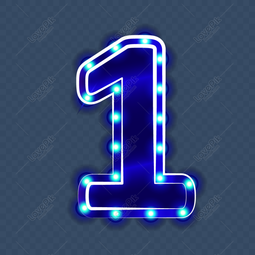 Neon border effect number 1 element png image_picture free