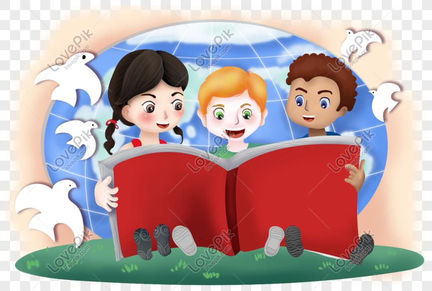Membaca Buku Hari Anak Sedunia Png Grafik Gambar Unduh Gratis Lovepik