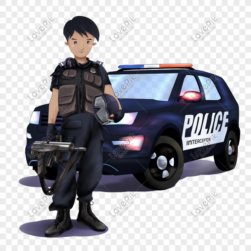Polisi Berdiri Di Depan Mobil Polisi Png Grafik Gambar Unduh Gratis Lovepik