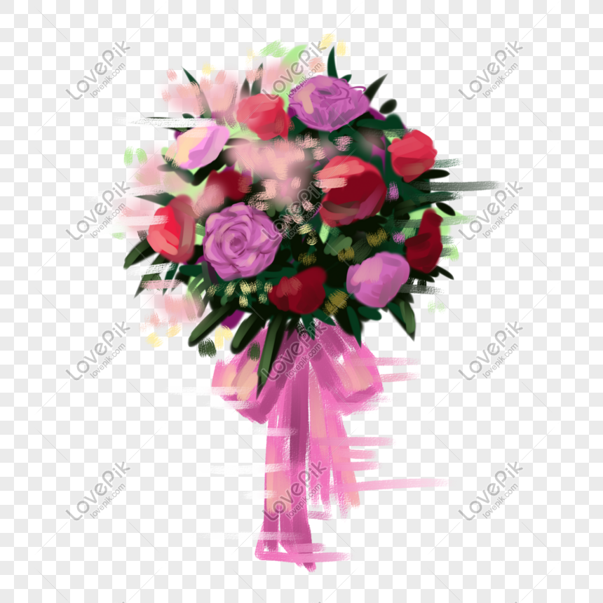 cartoon romantic hand painted flowers png