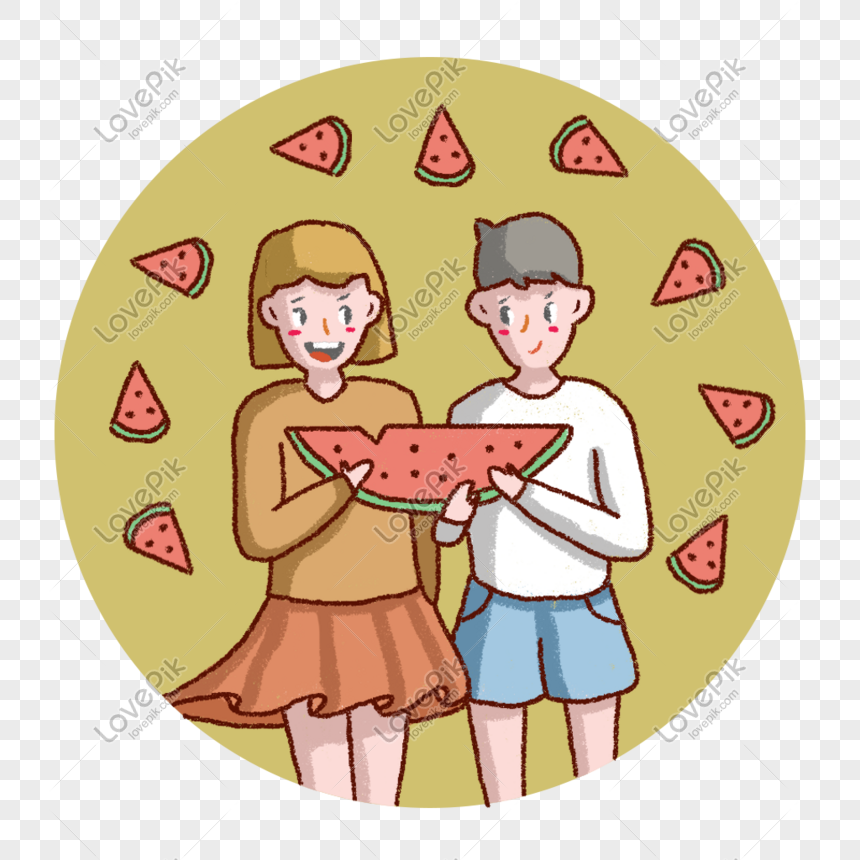 Lixia Friends Eat Watermelon Together Png Image Picture Free