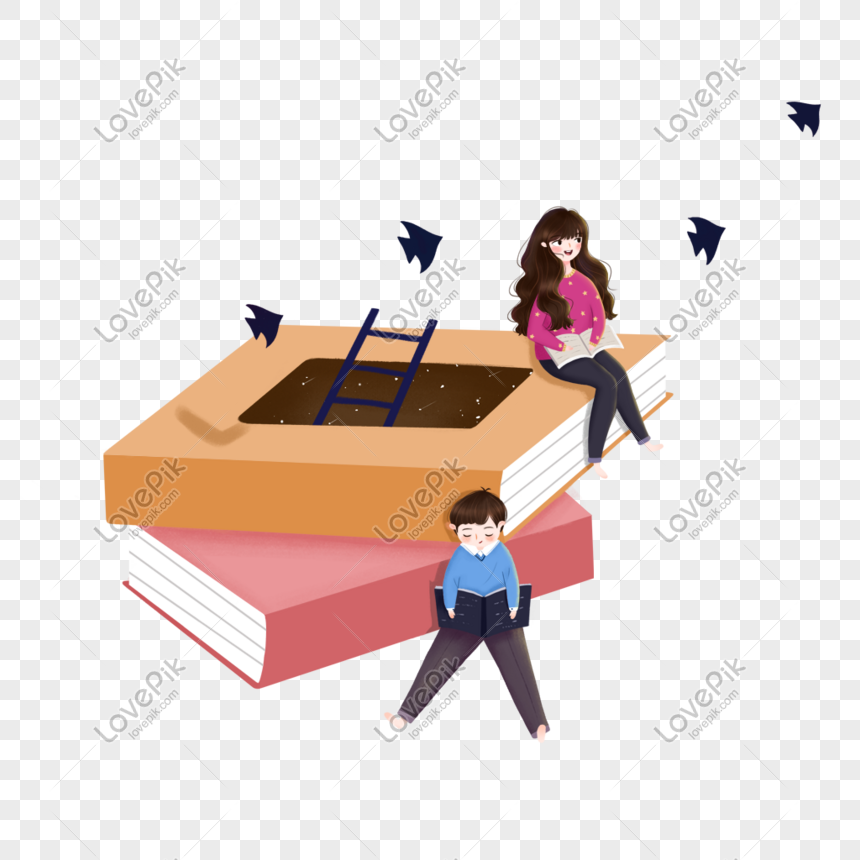 reading boys and girls png