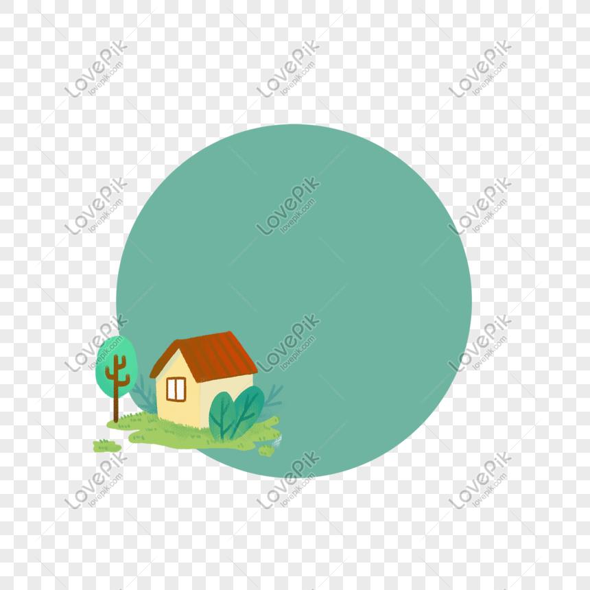 kartun cottage hijau dekoratif bingkai bulat png grafik gambar unduh gratis lovepik kartun cottage hijau dekoratif bingkai