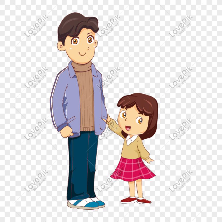 Ayah Dan Anak Perempuan Sedang Berdiri Tokoh Kartun Png Grafik Gambar Unduh Gratis Lovepik