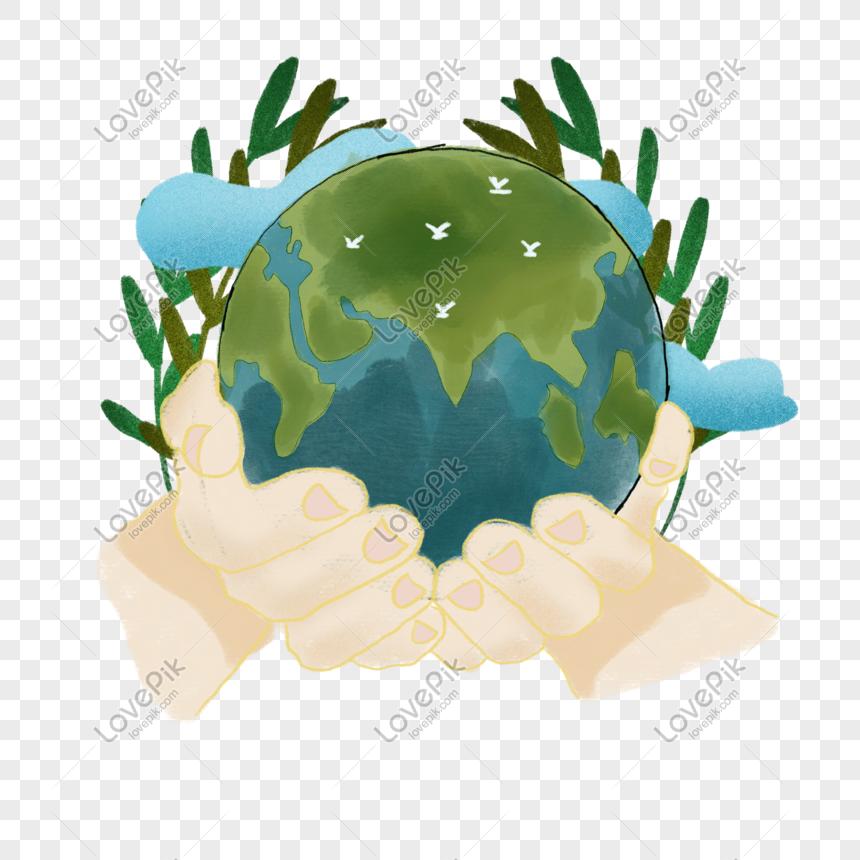 アースデー保護地球図要素 png