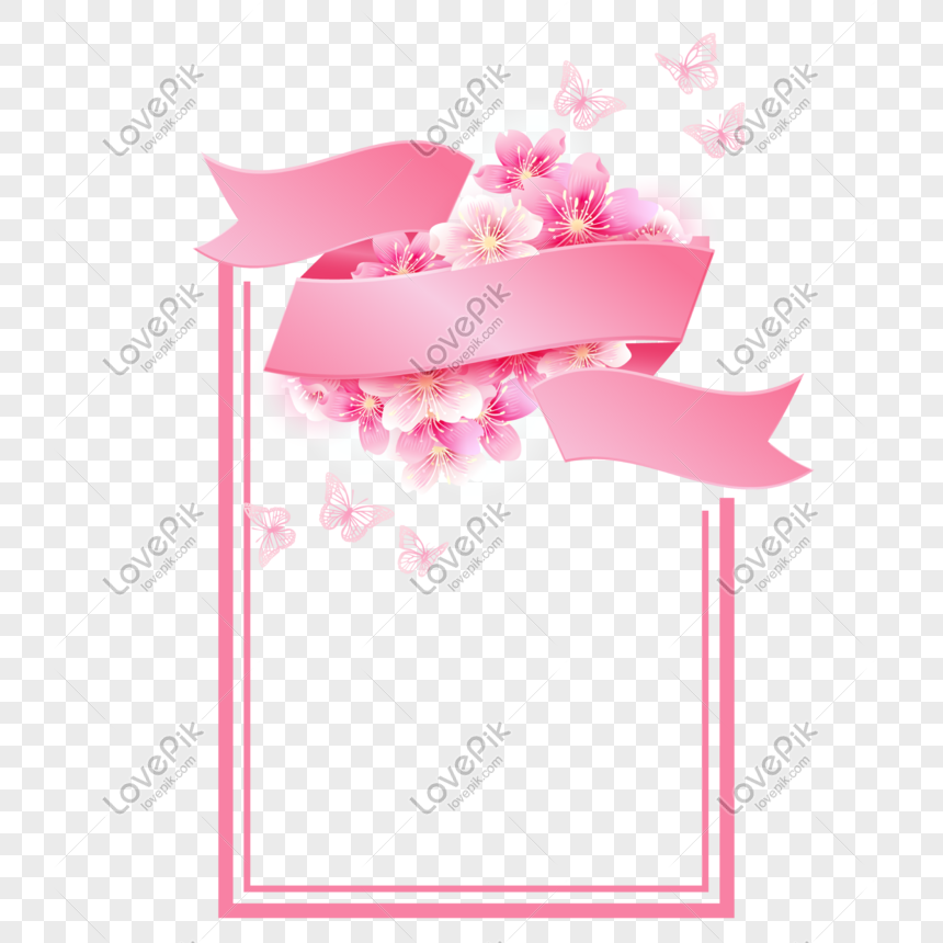 pink cherry border png