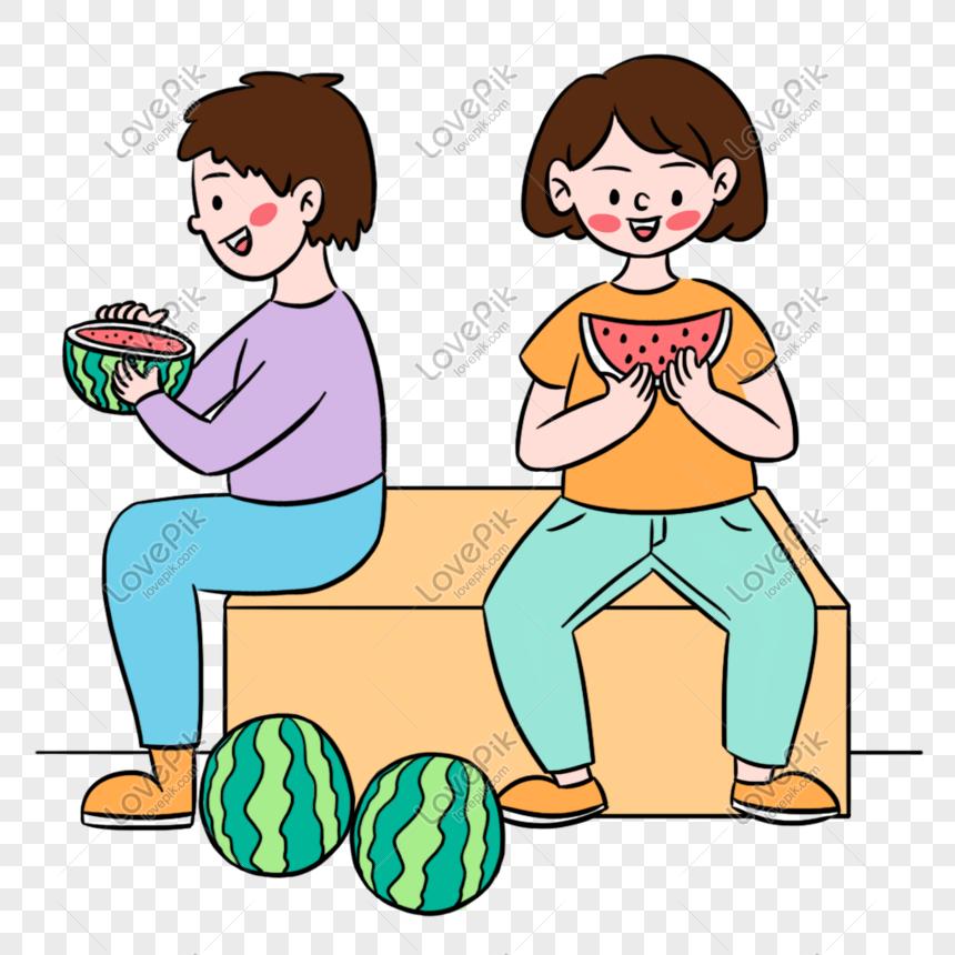 Verao Colorido Dos Desenhos Animados Comendo Elementos De Melan